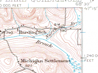Reduced fragment of topographic map en--usgs--063k--053665--(1928)--N047-15_W068-45--N047-00_W068-30