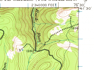 Reduced fragment of topographic map en--usgs--063k--053674--(1953)--N041-30_W076-45--N041-15_W076-30; towns and cities Eagles Mere, Forksville, Picture Rocks