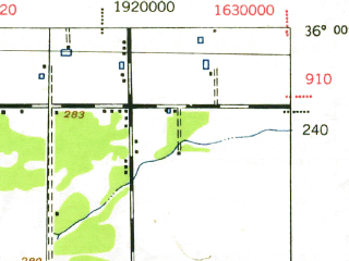 Reduced fragment of topographic map en--usgs--063k--053679--(1942)--N036-00_W119-30--N035-45_W119-15; towns and cities Delano, Earlimart, Pixley
