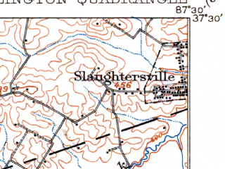 Reduced fragment of topographic map en--usgs--063k--053681--(1909)--N037-30_W087-45--N037-15_W087-30; towns and cities Madisonville, Nebo, Slaughters, Earlington