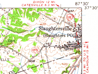 Reduced fragment of topographic map en--usgs--063k--053681--(1954)--N037-30_W087-45--N037-15_W087-30; towns and cities Madisonville, Slaughters, Earlington, Nebo