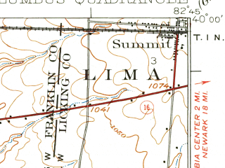 Reduced fragment of topographic map en--usgs--063k--053689--(1925)--N040-00_W083-00--N039-45_W082-45; towns and cities Columbus, Reynoldsburg, Whitehall, Blacklick Estates, Bexley