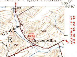 Reduced fragment of topographic map en--usgs--063k--053700--(1941)--N040-30_W077-45--N040-15_W077-30; towns and cities Blain, Mcveytown