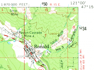 Reduced fragment of topographic map en--usgs--063k--053704--(1961)--N047-15_W121-15--N047-00_W121-00; towns and cities Roslyn