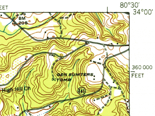 Reduced fragment of topographic map en--usgs--063k--053705--(1943)--N034-00_W080-45--N033-45_W080-30; towns and cities Eastover