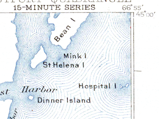 Reduced fragment of topographic map en--usgs--063k--053707--(1945)--N045-00_W067-15--N044-45_W066-55 in area of Cobscook Bay, Western Passage, Dennys Bay; towns and cities Eastport, Welshpool