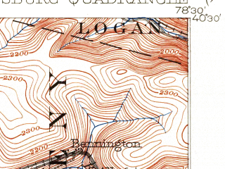 Reduced fragment of topographic map en--usgs--063k--053710--(1902)--N040-30_W078-45--N040-15_W078-30; towns and cities Portage, Sankertown, Spring Hill
