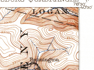 Reduced fragment of topographic map en--usgs--063k--053710--(1904)--N040-30_W078-45--N040-15_W078-30; towns and cities Lilly, Portage, Sankertown