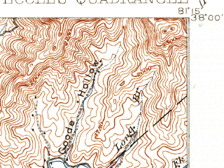Reduced fragment of topographic map en--usgs--063k--053713--(1914)--N038-00_W081-30--N037-45_W081-15; towns and cities Pax