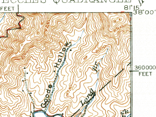 Reduced fragment of topographic map en--usgs--063k--053713--(1929)--N038-00_W081-30--N037-45_W081-15; towns and cities Pax
