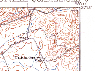 Reduced fragment of topographic map en--usgs--063k--053722--(1931)--N037-15_W088-15--N037-00_W088-00 in area of Maple Lake; towns and cities Dycusburg, Eddyville, Fredonia
