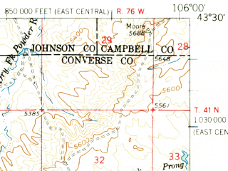 Reduced fragment of topographic map en--usgs--063k--053735--(1959)--N043-30_W106-15--N043-15_W106-00; towns and cities Edgerton