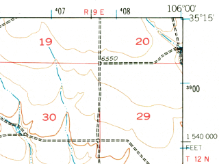 Reduced fragment of topographic map en--usgs--063k--053737--(1956)--N035-15_W106-15--N035-00_W106-00; towns and cities Edgewood, Moriarty