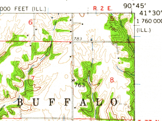 Reduced fragment of topographic map en--usgs--063k--053738--(1953)--N041-30_W091-00--N041-15_W090-45