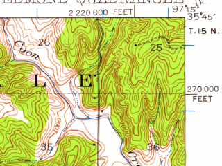 Reduced fragment of topographic map en--usgs--063k--053746--(1935)--N035-45_W097-30--N035-30_W097-15 in area of Arcadia Lake; towns and cities Edmond, Arcadia, Forest Park, Jones