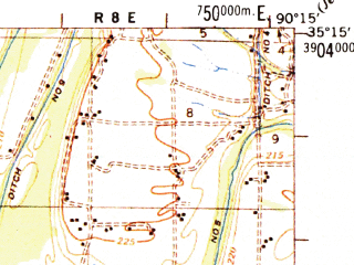 Reduced fragment of topographic map en--usgs--063k--053748--(1954)--N035-15_W090-30--N035-00_W090-15; towns and cities Earle, Edmondson, Jennette