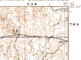 Reduced fragment of topographic map en--usgs--063k--053754--(1938)--N032-30_W090-45--N032-15_W090-30; towns and cities Edwards