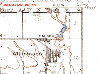 Reduced fragment of topographic map en--usgs--063k--053756--(1932)--N039-00_W090-00--N038-45_W089-45 in area of Holiday Lake; towns and cities Edwardsville, Glen Carbon, Hamel, Livingston, Marine