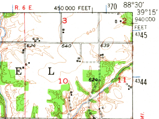 Reduced fragment of topographic map en--usgs--063k--053759--(1950)--N039-15_W088-45--N039-00_W088-30 in area of Lake Sara; towns and cities Effingham, Shumway, Watson, Altamont