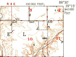 Reduced fragment of topographic map en--usgs--063k--053759--(1951)--N039-15_W088-45--N039-00_W088-30 in area of Lake Sara; towns and cities Effingham, Altamont, Shumway, Watson