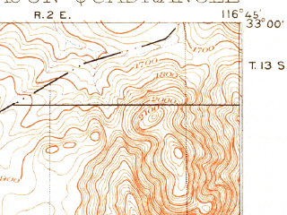 Reduced fragment of topographic map en--usgs--063k--053765--(1901)--N033-00_W117-00--N032-45_W116-45 in area of San Vicente Reservoir, El Capitan Lake, Sweetwater Reservoir; towns and cities El Cajon, Santee, Lakeside, Bostonia, Alpine