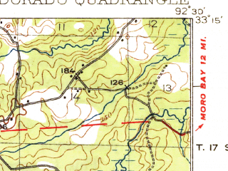 Reduced fragment of topographic map en--usgs--063k--053768--(1927)--N033-15_W092-45--N033-00_W092-30; towns and cities El Dorado, Junction City