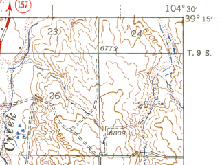 Reduced fragment of topographic map en--usgs--063k--053777--(1944)--N039-15_W104-45--N039-00_W104-30; towns and cities Black Forest