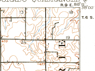 Reduced fragment of topographic map en--usgs--063k--053784--(1905)--N038-00_W088-30--N037-45_W088-15; towns and cities Broughton, Eldorado, Norris City