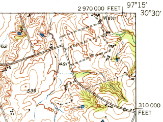 Reduced fragment of topographic map en--usgs--063k--053788--(1950)--N030-30_W097-30--N030-15_W097-15; towns and cities Elgin