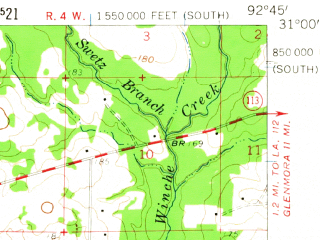 Reduced fragment of topographic map en--usgs--063k--053797--(1959)--N031-00_W093-00--N030-45_W092-45; towns and cities Elizabeth