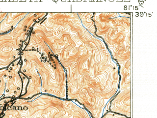 Reduced fragment of topographic map en--usgs--063k--053799--(1926)--N039-15_W081-30--N039-00_W081-15; towns and cities Elizabeth