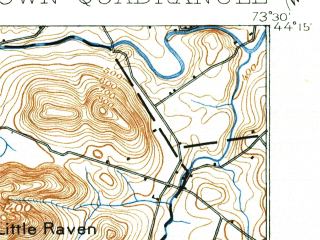 Reduced fragment of topographic map en--usgs--063k--053801--(1901)--N044-15_W073-45--N044-00_W073-30; towns and cities Mineville-witherbee