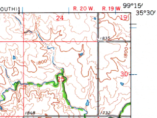Reduced fragment of topographic map en--usgs--063k--053805--(1961)--N035-30_W099-30--N035-15_W099-15; towns and cities Elk City, Canute