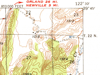 Reduced fragment of topographic map en--usgs--063k--053806--(1948)--N039-45_W122-45--N039-30_W122-30 in area of Stony Gorge Reservoir