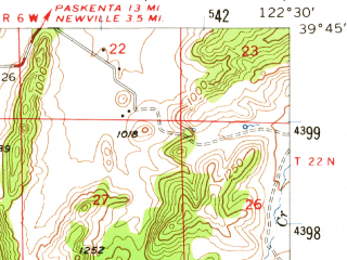 Reduced fragment of topographic map en--usgs--063k--053806--(1957)--N039-45_W122-45--N039-30_W122-30 in area of Stony Gorge Reservoir