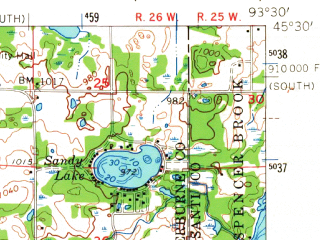 Reduced fragment of topographic map en--usgs--063k--053814--(1961)--N045-30_W093-45--N045-15_W093-30; towns and cities Elk River, Zimmerman, Big Lake
