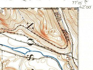 Reduced fragment of topographic map en--usgs--063k--053821--(1900)--N042-00_W077-30--N041-45_W077-15; towns and cities Elkland, Knoxville