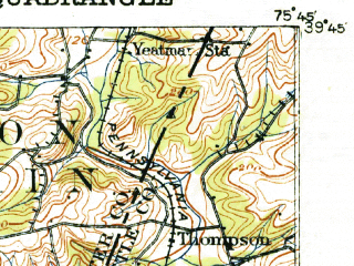 Reduced fragment of topographic map en--usgs--063k--053824--(1917)--N039-45_W076-00--N039-30_W075-45; towns and cities Newark, Elkton, North East, Charlestown, Chesapeake City