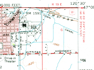 Reduced fragment of topographic map en--usgs--063k--053828--(1958)--N047-00_W120-45--N046-45_W120-30; towns and cities Ellensburg