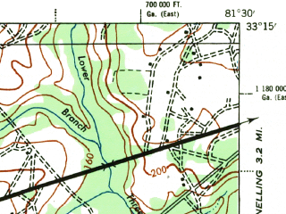 Reduced fragment of topographic map en--usgs--063k--053829--(1944)--N033-15_W081-45--N033-00_W081-30; towns and cities Girard