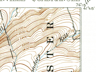 Reduced fragment of topographic map en--usgs--063k--053830--(1906)--N041-45_W074-30--N041-30_W074-15; towns and cities Bloomingburg, Ellenville, Napanoch