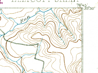 Reduced fragment of topographic map en--usgs--063k--053832--(1892)--N039-30_W077-00--N039-15_W076-45 in area of Liberty Lake; towns and cities Ellicott City, Milford Mill, Randallstown, Reisterstown, Eldersburg