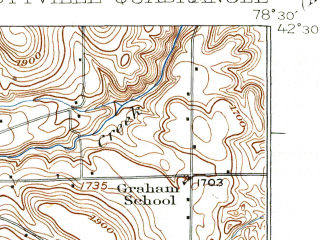 Reduced fragment of topographic map en--usgs--063k--053834--(1924)--N042-30_W078-45--N042-15_W078-30; towns and cities Ellicottville