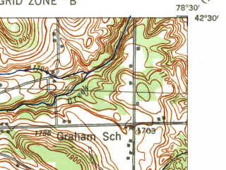 Reduced fragment of topographic map en--usgs--063k--053834--(1941)--N042-30_W078-45--N042-15_W078-30; towns and cities Ellicottville