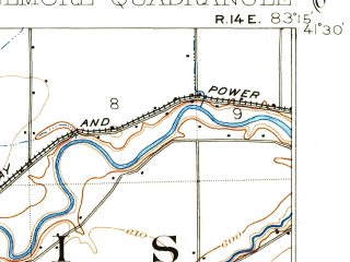 Reduced fragment of topographic map en--usgs--063k--053857--(1901)--N041-30_W083-30--N041-15_W083-15; towns and cities Wayne, Woodville, Bradner