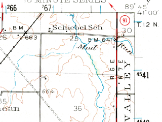 Reduced fragment of topographic map en--usgs--063k--053860--(1944)--N041-00_W090-00--N040-45_W089-45; towns and cities Princeville, Brimfield, Elmwood