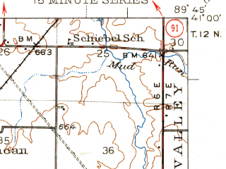 Reduced fragment of topographic map en--usgs--063k--053860--(1948)--N041-00_W090-00--N040-45_W089-45; towns and cities Brimfield, Elmwood, Princeville