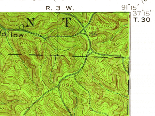 Reduced fragment of topographic map en--usgs--063k--053890--(1915)--N037-15_W091-30--N037-00_W091-15; towns and cities Winona, Eminence