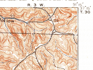 Reduced fragment of topographic map en--usgs--063k--053890--(1917)--N037-15_W091-30--N037-00_W091-15; towns and cities Eminence, Winona