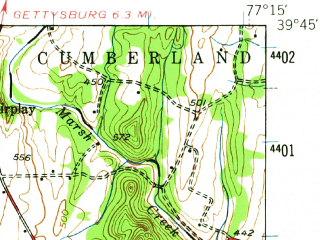 Reduced fragment of topographic map en--usgs--063k--053895--(1943)--N039-45_W077-30--N039-30_W077-15; towns and cities Thurmont, Woodsboro, Carroll Valley